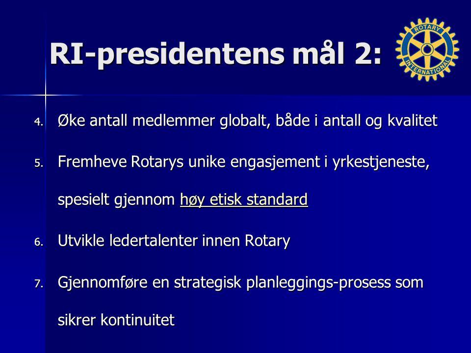 RI-presidentens mål 2: 4. Øke antall medlemmer globalt, både i antall og kvalitet 5. Fremheve Rotarys unike engasjement i yrkestjeneste, spesielt gjen