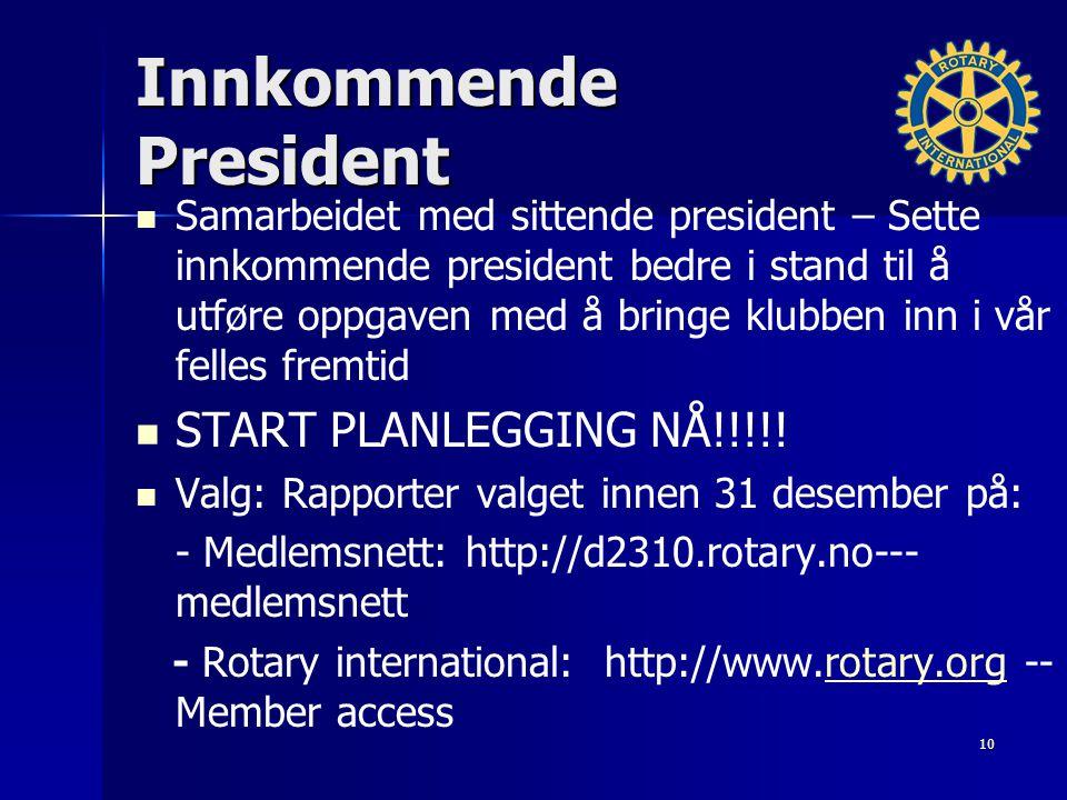 Innkommende President Samarbeidet med sittende president – Sette innkommende president bedre i stand til å utføre oppgaven med å bringe klubben inn i vår felles fremtid START PLANLEGGING NÅ!!!!.
