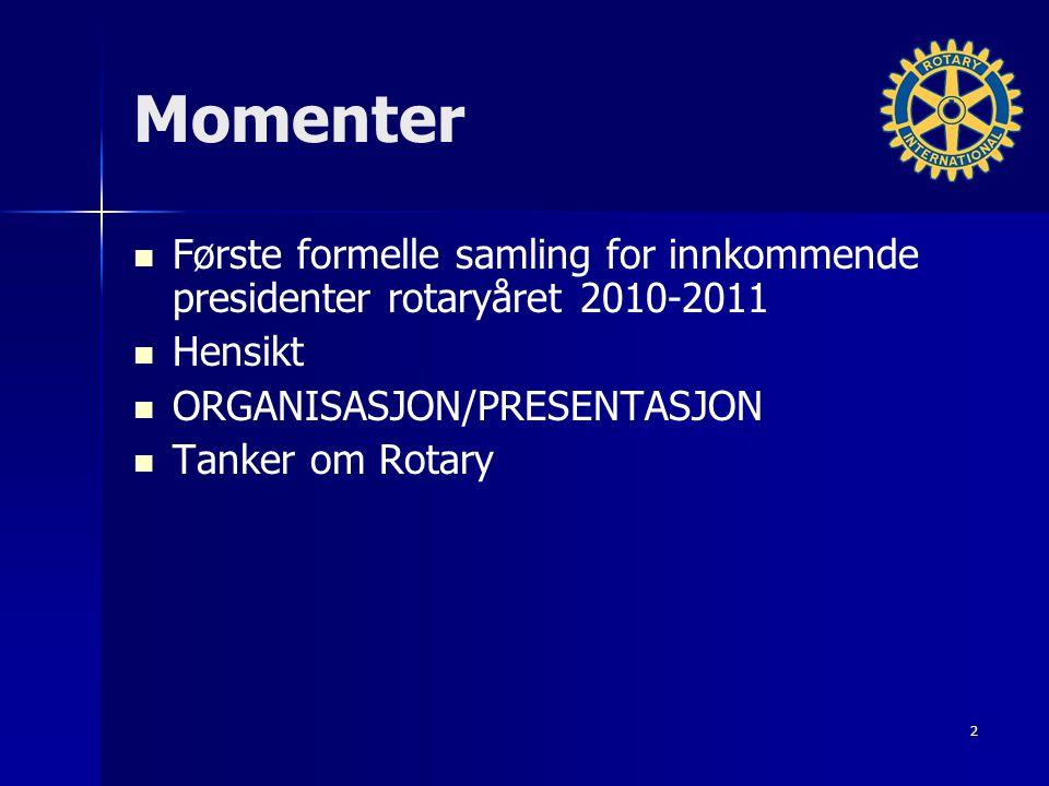 Momenter Første formelle samling for innkommende presidenter rotaryåret 2010-2011 Hensikt ORGANISASJON/PRESENTASJON Tanker om Rotary 2