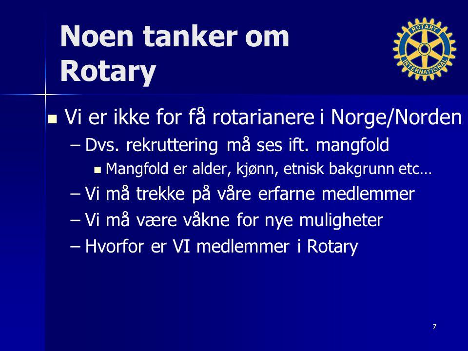 Noen tanker om Rotary Vi er ikke for få rotarianere i Norge/Norden – –Dvs.