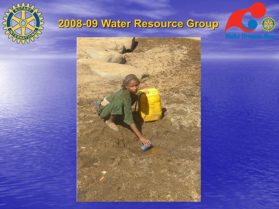 2008-09 Water Resource Group Tusenvis av klubber er allerede involvert  Brønngraving  Samle regnvann  Vannrensing med sandfilter  Desinfisering  Bygge dammer og rørledninger  Dambeskyttelse
