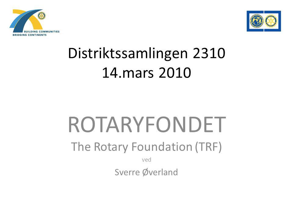 Distriktssamlingen 2310 14.mars 2010 ROTARYFONDET The Rotary Foundation (TRF) ved Sverre Øverland