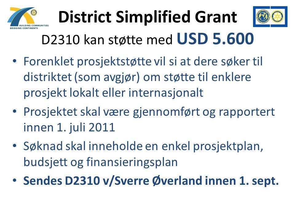 District Simplified Grant D2310 kan støtte med USD 5.600 Forenklet prosjektstøtte vil si at dere søker til distriktet (som avgjør) om støtte til enklere prosjekt lokalt eller internasjonalt Prosjektet skal være gjennomført og rapportert innen 1.