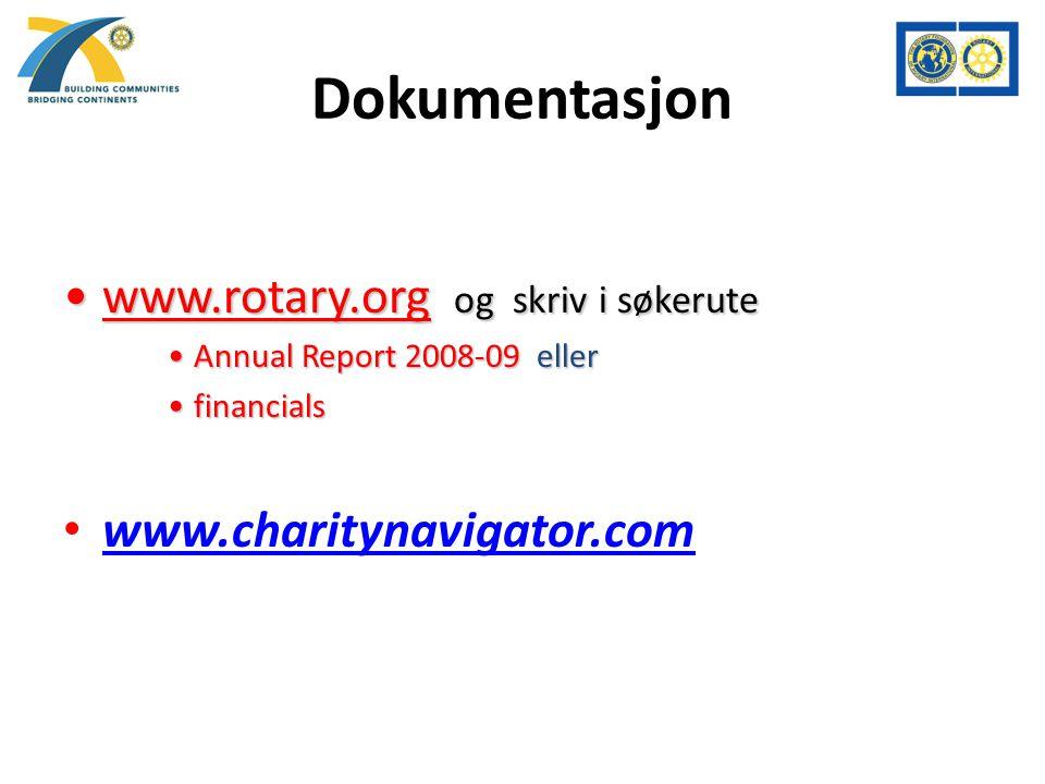 Dokumentasjon www.rotary.org og skriv i søkerutewww.rotary.org og skriv i søkerute Annual Report 2008-09 ellerAnnual Report 2008-09 eller financialsfinancials www.charitynavigator.com