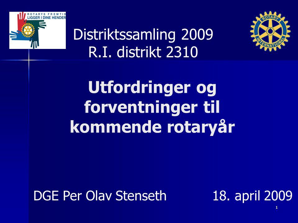 Utfordringer og forventninger til kommende rotaryår Distriktssamling 2009 R.I. distrikt 2310 DGE Per Olav Stenseth18. april 2009 1