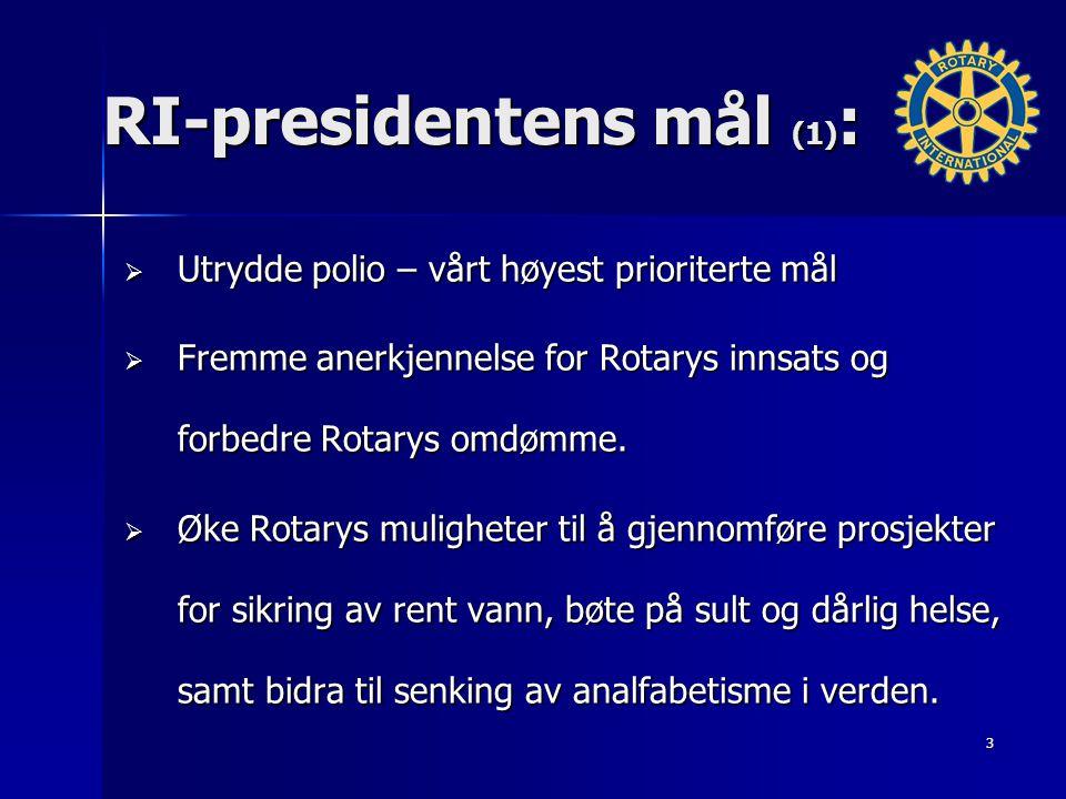 RI-presidentens mål (1) :  Utrydde polio – vårt høyest prioriterte mål  Fremme anerkjennelse for Rotarys innsats og forbedre Rotarys omdømme.  Øke