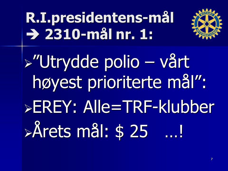 """R.I.presidentens-mål  2310-mål nr. 1:  """"Utrydde polio – vårt høyest prioriterte mål"""":  EREY: Alle=TRF-klubber  Årets mål: $ 25 …! 7"""