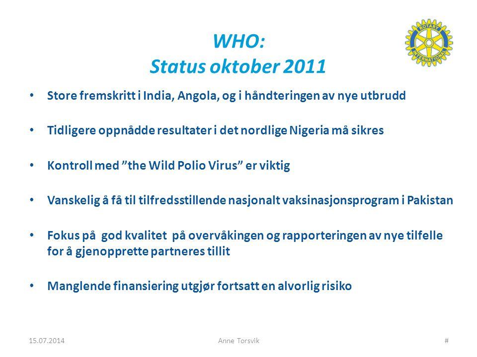 WHO: Status oktober 2011 Store fremskritt i India, Angola, og i håndteringen av nye utbrudd Tidligere oppnådde resultater i det nordlige Nigeria må sikres Kontroll med the Wild Polio Virus er viktig Vanskelig å få til tilfredsstillende nasjonalt vaksinasjonsprogram i Pakistan Fokus på god kvalitet på overvåkingen og rapporteringen av nye tilfelle for å gjenopprette partneres tillit Manglende finansiering utgjør fortsatt en alvorlig risiko 15.07.2014Anne Torsvik#
