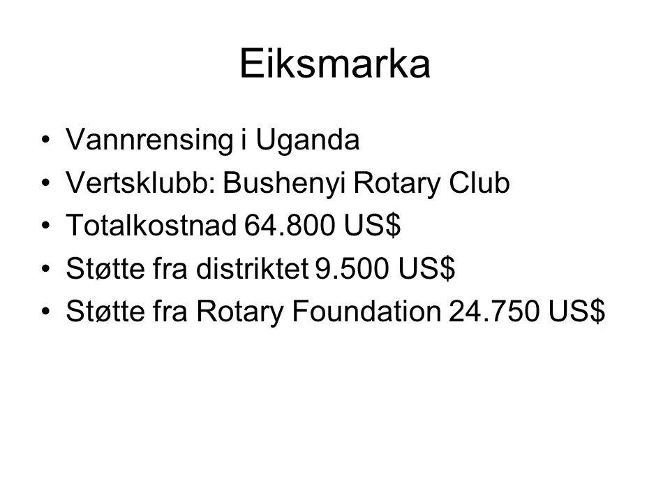Eiksmarka Vannrensing i Uganda Vertsklubb: Bushenyi Rotary Club Totalkostnad 64.800 US$ Støtte fra distriktet 9.500 US$ Støtte fra Rotary Foundation 24.750 US$