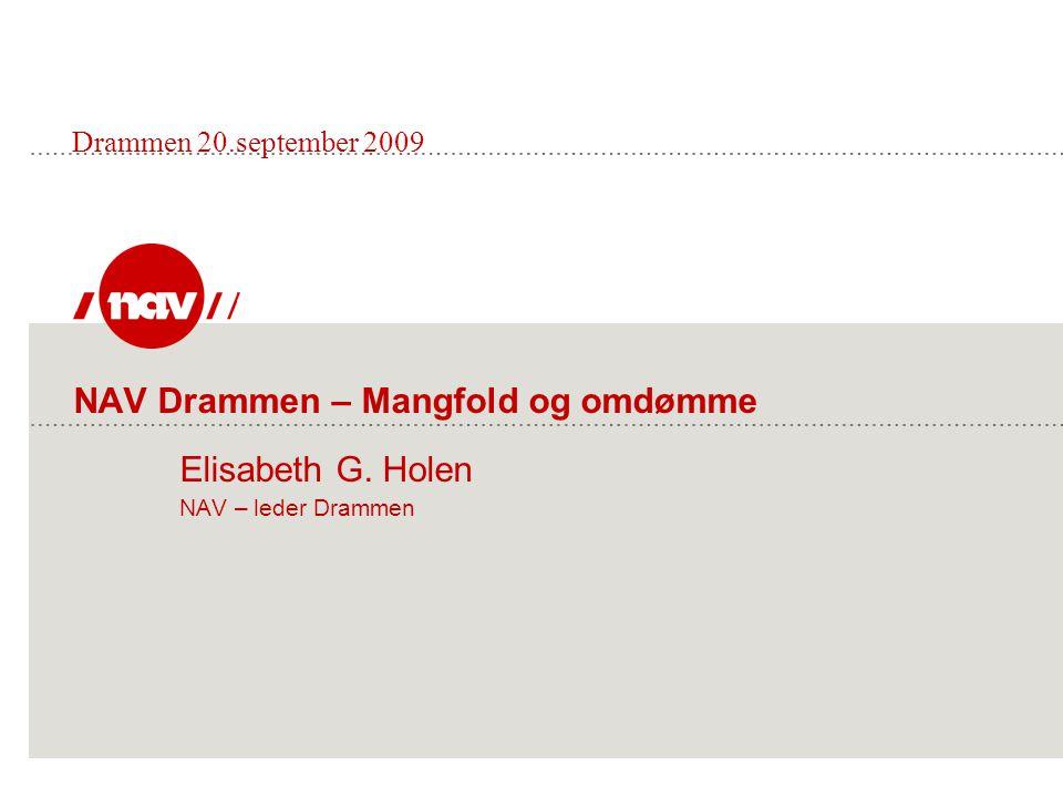 NAV Drammen – Mangfold og omdømme Elisabeth G. Holen NAV – leder Drammen Drammen 20.september 2009