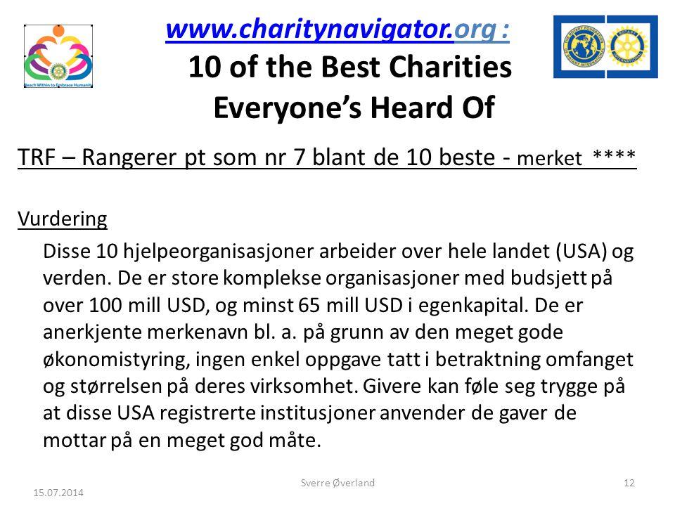 www.charitynavigator.www.charitynavigator.org : 10 of the Best Charities Everyone's Heard Of TRF – Rangerer pt som nr 7 blant de 10 beste - merket **** Vurdering Disse 10 hjelpeorganisasjoner arbeider over hele landet (USA) og verden.