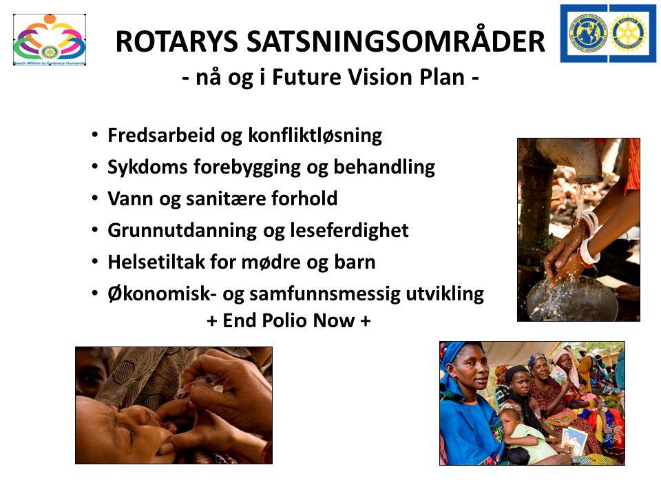 ROTARYS SATSNINGSOMRÅDER - nå og i Future Vision Plan - Fredsarbeid og konfliktløsning Sykdoms forebygging og behandling Vann og sanitære forhold Grunnutdanning og leseferdighet Helsetiltak for mødre og barn Økonomisk- og samfunnsmessig utvikling + End Polio Now +