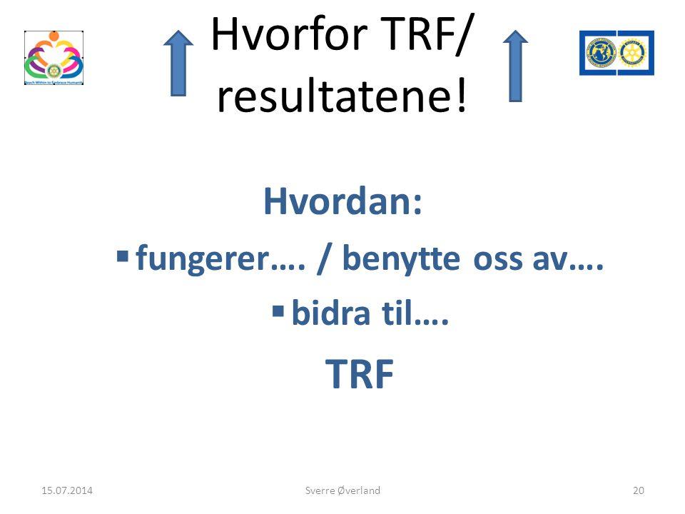 Hvorfor TRF/ resultatene. Hvordan:  fungerer…. / benytte oss av….