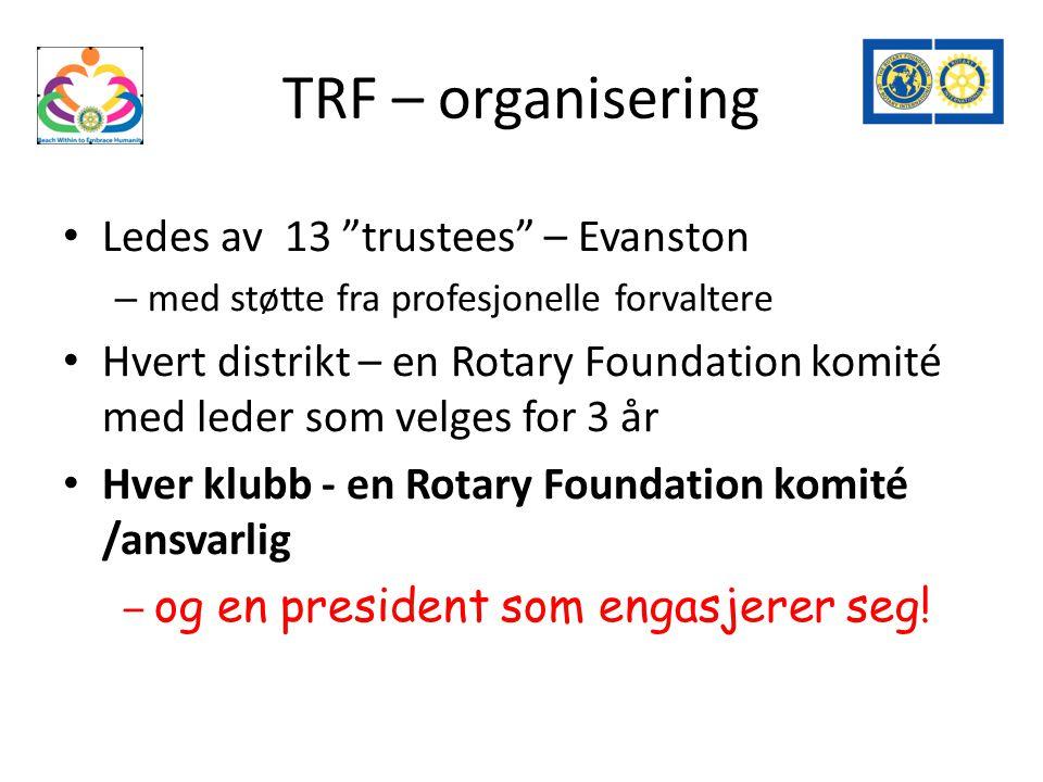 TRF – organisering Ledes av 13 trustees – Evanston – med støtte fra profesjonelle forvaltere Hvert distrikt – en Rotary Foundation komité med leder som velges for 3 år Hver klubb - en Rotary Foundation komité /ansvarlig – og en president som engasjerer seg!