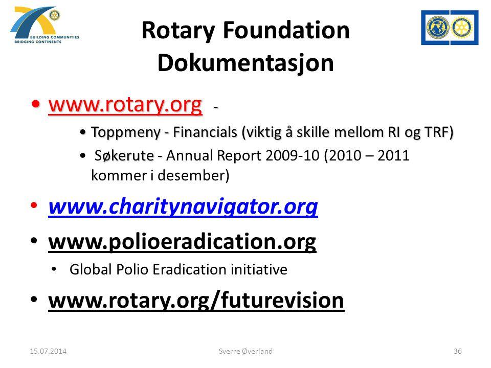 Rotary Foundation Dokumentasjon www.rotary.org -www.rotary.org - Toppmeny - Financials (viktig å skille mellom RI og TRF)Toppmeny - Financials (viktig å skille mellom RI og TRF) økerute - Søkerute - Annual Report 2009-10 (2010 – 2011 kommer i desember) www.charitynavigator.org www.polioeradication.org Global Polio Eradication initiative www.rotary.org/futurevision 15.07.201436Sverre Øverland