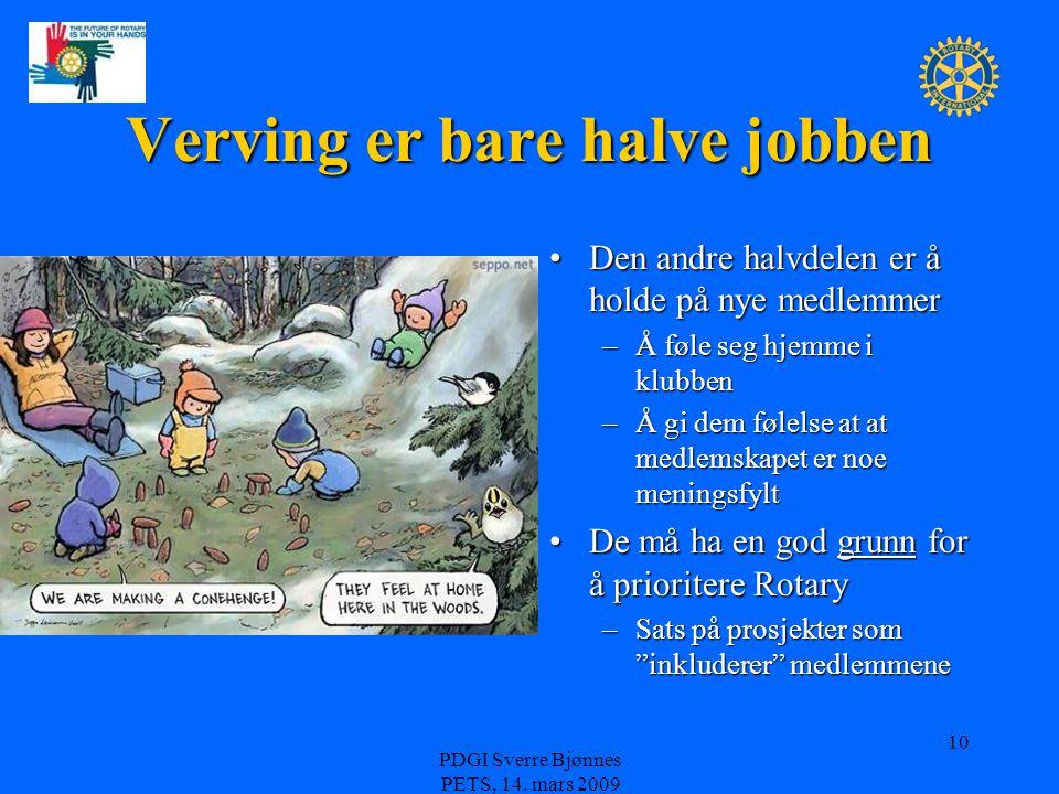 PDGI Sverre Bjønnes PETS, 14. mars 2009 10 Verving er bare halve jobben Den andre halvdelen er å holde på nye medlemmer –Å føle seg hjemme i klubben –