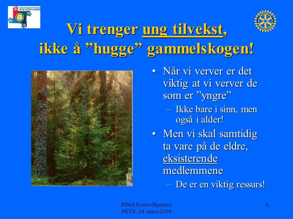 """PDGI Sverre Bjønnes PETS, 14. mars 2009 4 Vi trenger ung tilvekst, ikke å """"hugge"""" gammelskogen! Når vi verver er det viktig at vi verver de som er """"yn"""