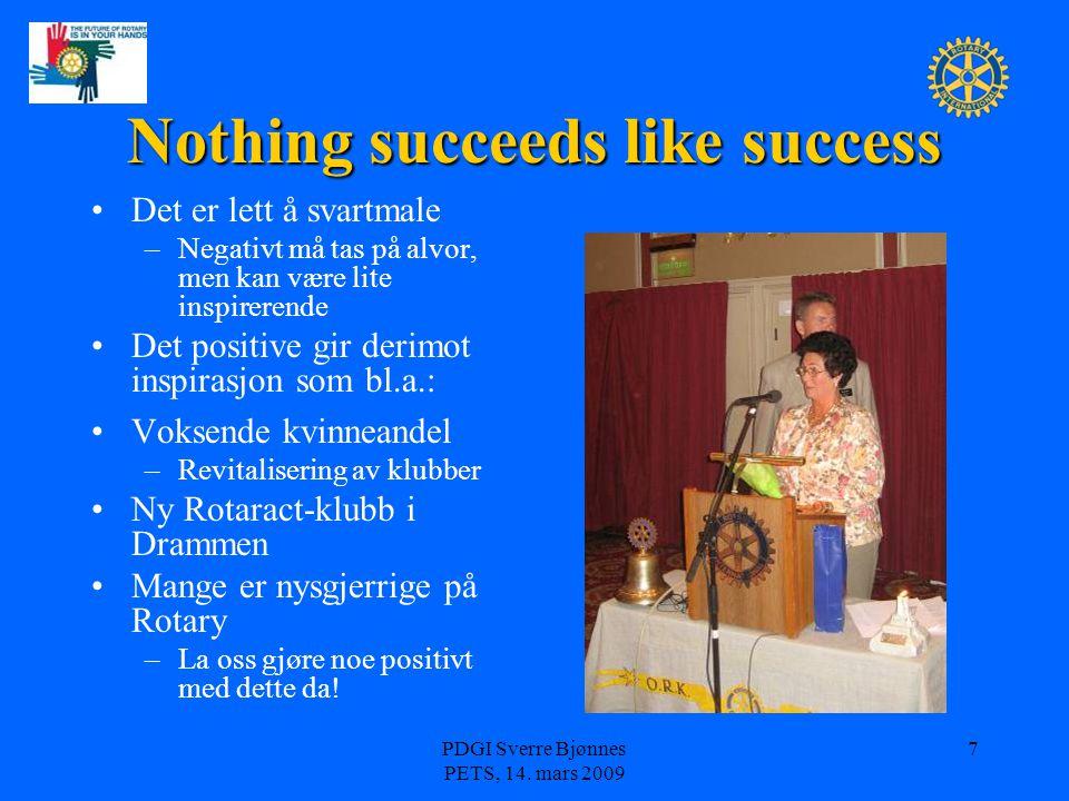 Nothing succeeds like success Det er lett å svartmale – –Negativt må tas på alvor, men kan være lite inspirerende Det positive gir derimot inspirasjon