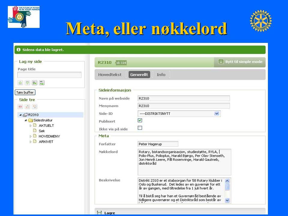 Meta, eller nøkkelord KOM Peter Hagerup PrePETS- Presidentsamling, 19. nov. 2009 10