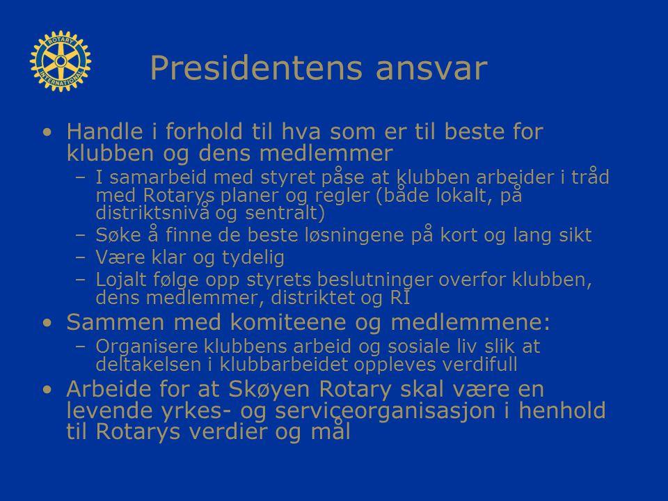 Presidentens ansvar Handle i forhold til hva som er til beste for klubben og dens medlemmer –I samarbeid med styret påse at klubben arbeider i tråd me
