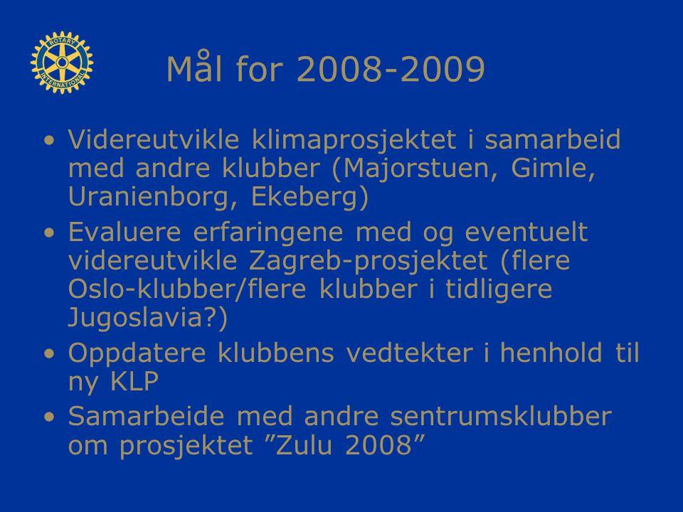Mål for 2008-2009 Videreutvikle klimaprosjektet i samarbeid med andre klubber (Majorstuen, Gimle, Uranienborg, Ekeberg) Evaluere erfaringene med og ev