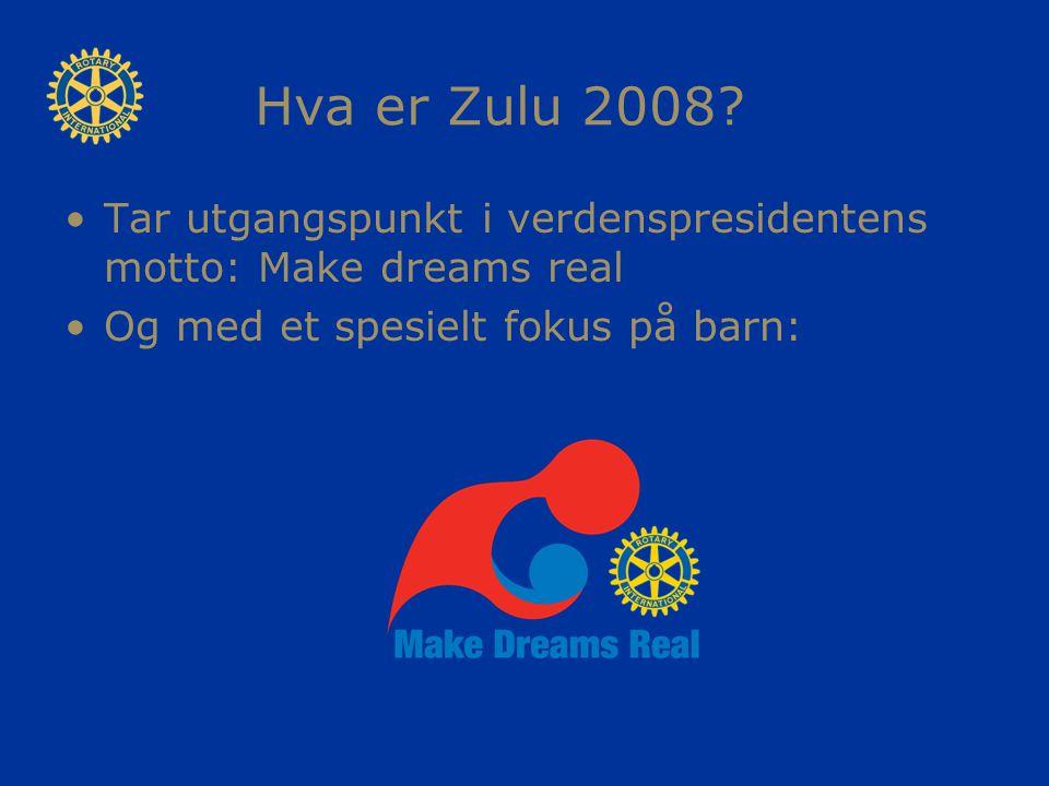 Hva er Zulu 2008? Tar utgangspunkt i verdenspresidentens motto: Make dreams real Og med et spesielt fokus på barn: