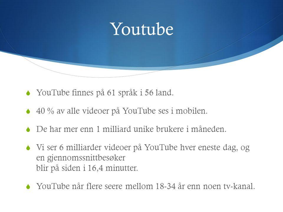 Youtube  YouTube finnes på 61 språk i 56 land.  40 % av alle videoer på YouTube ses i mobilen.