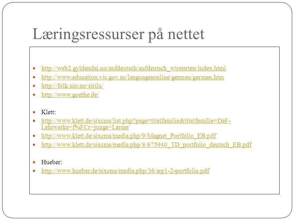 Læringsressurser på nettet http://web2.gyldendal.no/aufdeutsch/aufdeutsch_wirstarten/index.html http://www.education.vic.gov.au/languagesonline/german/german.htm http://folk.uio.no/sirilu/ http://www.goethe.de/ Klett: http://www.klett.de/sixcms/list.php page=titelfamilie&titelfamilie=DaF- Lehrwerke+f%FCr+junge+Lerner http://www.klett.de/sixcms/list.php page=titelfamilie&titelfamilie=DaF- Lehrwerke+f%FCr+junge+Lerner http://www.klett.de/sixcms/media.php/9/Magnet_Portfolio_EB.pdf http://www.klett.de/sixcms/media.php/8/675940_TD_portfolio_deutsch_EB.pdf Hueber: http://www.hueber.de/sixcms/media.php/36/srp1-2-portfolio.pdf