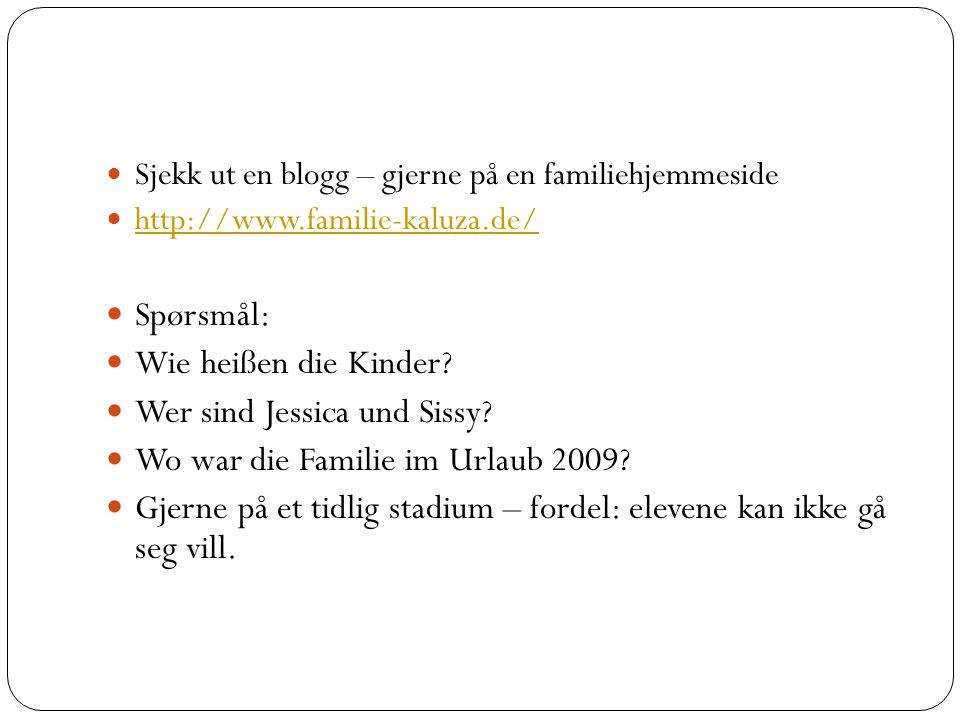 Sjekk ut en blogg – gjerne på en familiehjemmeside http://www.familie-kaluza.de/ Spørsmål: Wie heißen die Kinder.