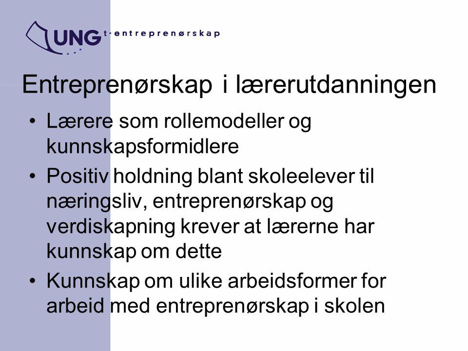 Entreprenørskap i lærerutdanningen Lærere som rollemodeller og kunnskapsformidlere Positiv holdning blant skoleelever til næringsliv, entreprenørskap