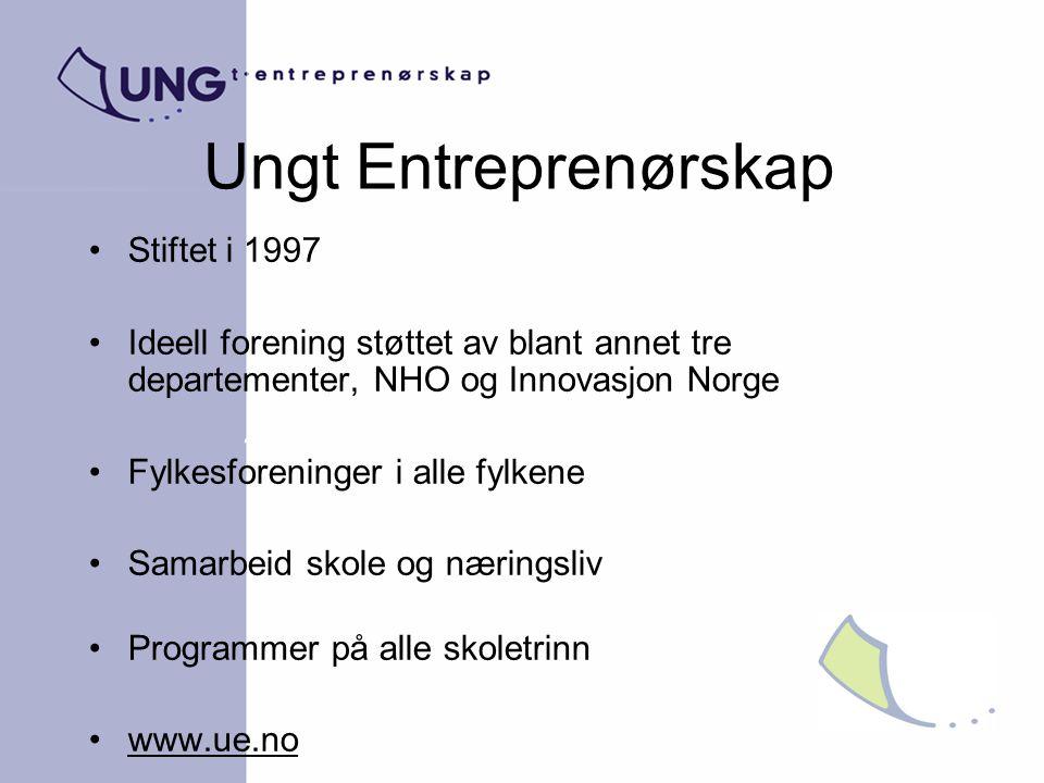 Ungt Entreprenørskap Stiftet i 1997 Ideell forening støttet av blant annet tre departementer, NHO og Innovasjon Norge Fylkesforeninger i alle fylkene