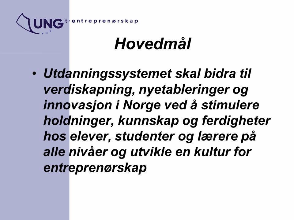 Hovedmål Utdanningssystemet skal bidra til verdiskapning, nyetableringer og innovasjon i Norge ved å stimulere holdninger, kunnskap og ferdigheter hos