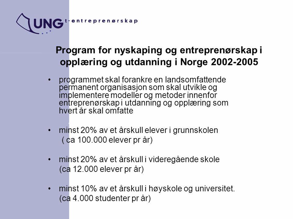 Program for nyskaping og entreprenørskap i opplæring og utdanning i Norge 2002-2005 programmet skal forankre en landsomfattende permanent organisasjon