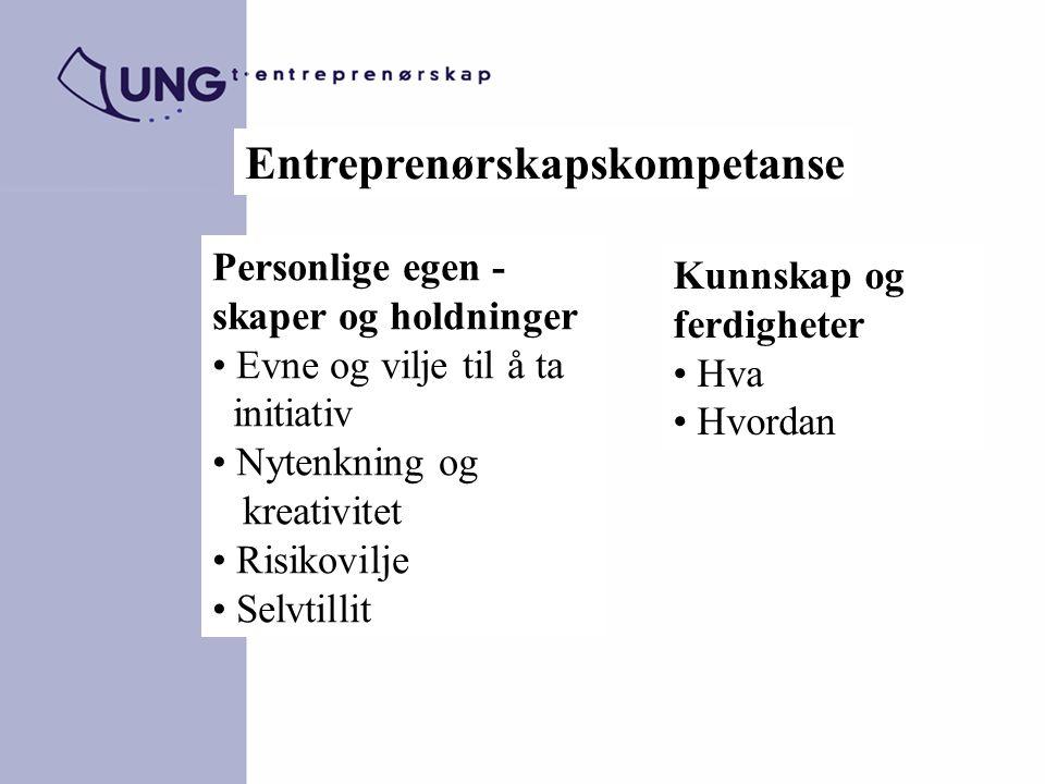Entreprenørskapskompetanse Personlige egen - skaper og holdninger Evne og vilje til å ta initiativ Nytenkning og kreativitet Risikovilje Selvtillit Ku