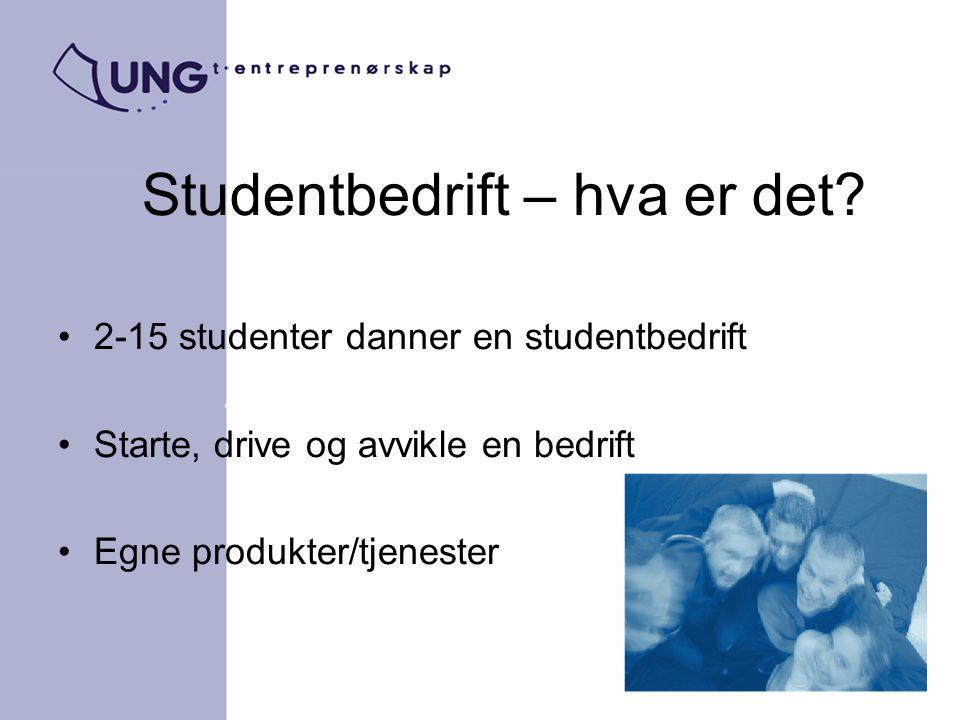Studentbedrift – hva er det? 2-15 studenter danner en studentbedrift Starte, drive og avvikle en bedrift Egne produkter/tjenester