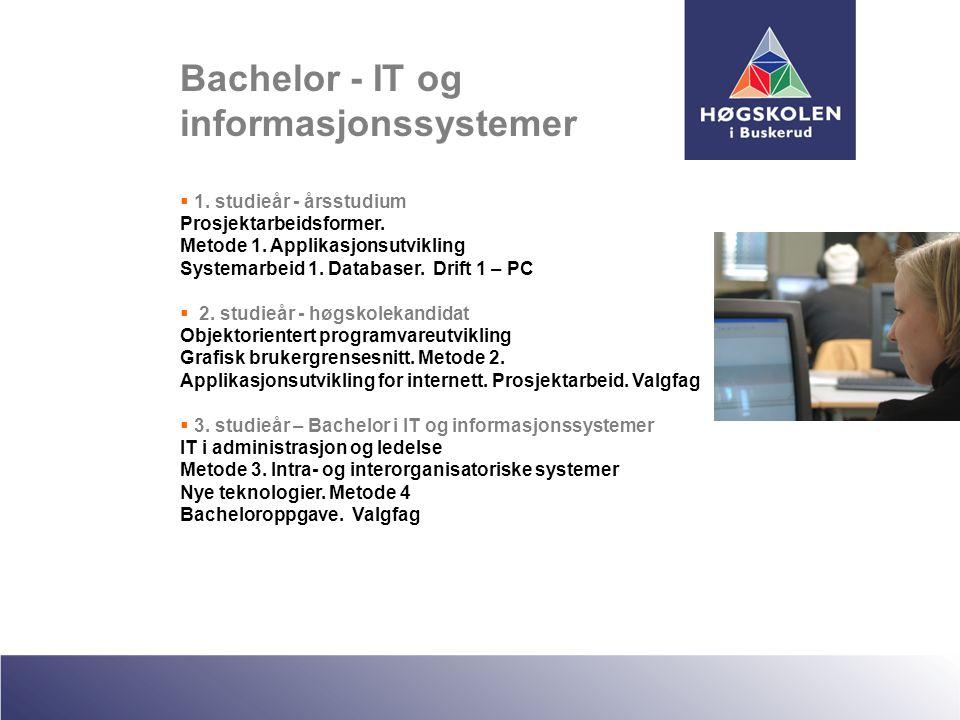 Bachelor - IT og informasjonssystemer  1. studieår - årsstudium Prosjektarbeidsformer. Metode 1. Applikasjonsutvikling Systemarbeid 1. Databaser. Dri