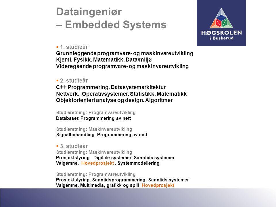 Dataingeniør – Embedded Systems  1. studieår Grunnleggende programvare- og maskinvareutvikling Kjemi. Fysikk. Matematikk. Data/miljø Videregående pro