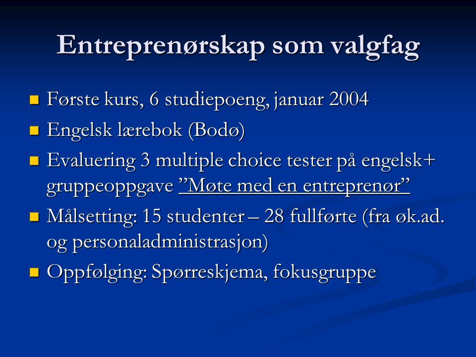 Entreprenørskap som valgfag Første kurs, 6 studiepoeng, januar 2004 Første kurs, 6 studiepoeng, januar 2004 Engelsk lærebok (Bodø) Engelsk lærebok (Bo
