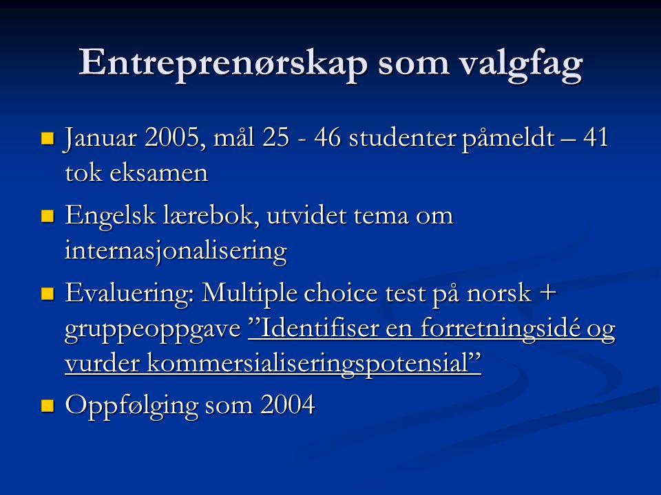 Entreprenørskap som valgfag Januar 2005, mål 25 - 46 studenter påmeldt – 41 tok eksamen Januar 2005, mål 25 - 46 studenter påmeldt – 41 tok eksamen En
