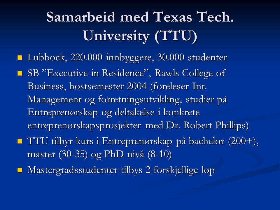 "Samarbeid med Texas Tech. University (TTU) Lubbock, 220.000 innbyggere, 30.000 studenter Lubbock, 220.000 innbyggere, 30.000 studenter SB ""Executive i"