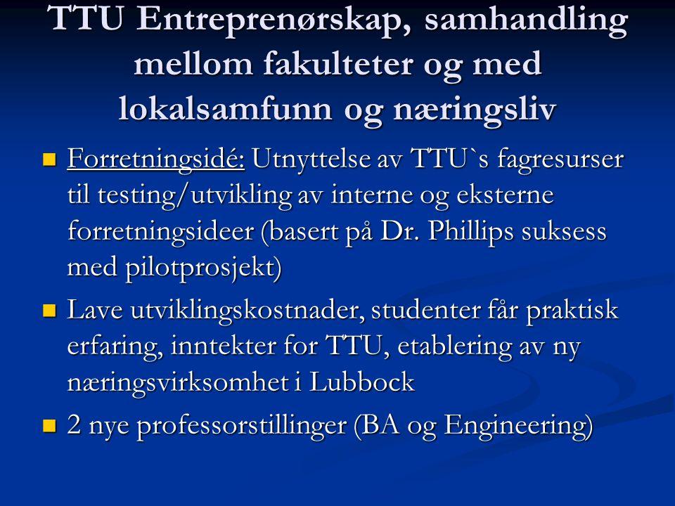 TTU Entreprenørskap, samhandling mellom fakulteter og med lokalsamfunn og næringsliv Forretningsidé: Utnyttelse av TTU`s fagresurser til testing/utvik