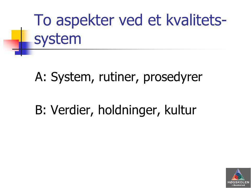 To aspekter ved et kvalitets- system A: System, rutiner, prosedyrer B: Verdier, holdninger, kultur