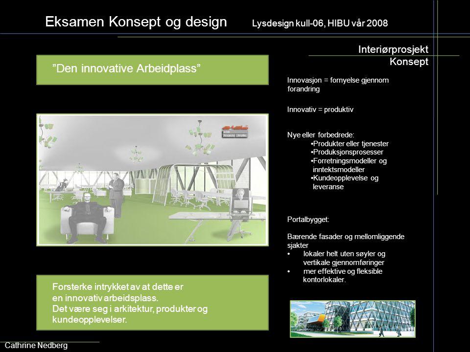 """Eksamen Konsept og design Lysdesign kull-06, HIBU vår 2008 Interiørprosjekt Konsept """"Den innovative Arbeidplass"""" Cathrine Nedberg Portalbygget: Bærend"""