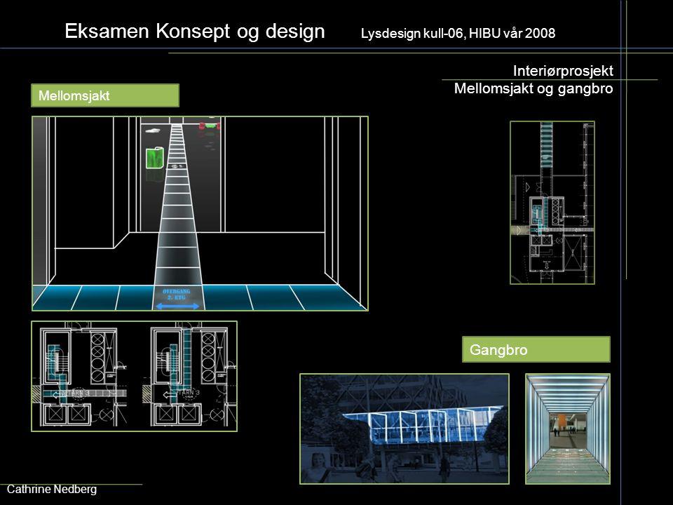 Eksamen Konsept og design Lysdesign kull-06, HIBU vår 2008 Interiørprosjekt Mellomsjakt og gangbro Cathrine Nedberg Mellomsjakt Gangbro