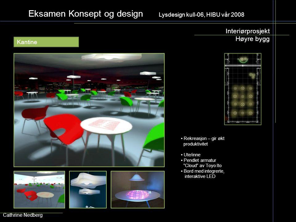 Eksamen Konsept og design Lysdesign kull-06, HIBU vår 2008 Interiørprosjekt Høyre bygg Cathrine Nedberg Kantine Rekreasjon – gir økt produktivitet Ute