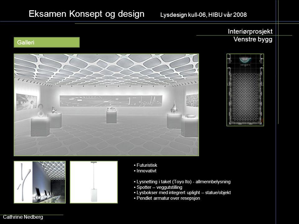 Eksamen Konsept og design Lysdesign kull-06, HIBU vår 2008 Interiørprosjekt Venstre bygg Cathrine Nedberg Galleri Lysnetting i taket (Toyo Ito) - allm