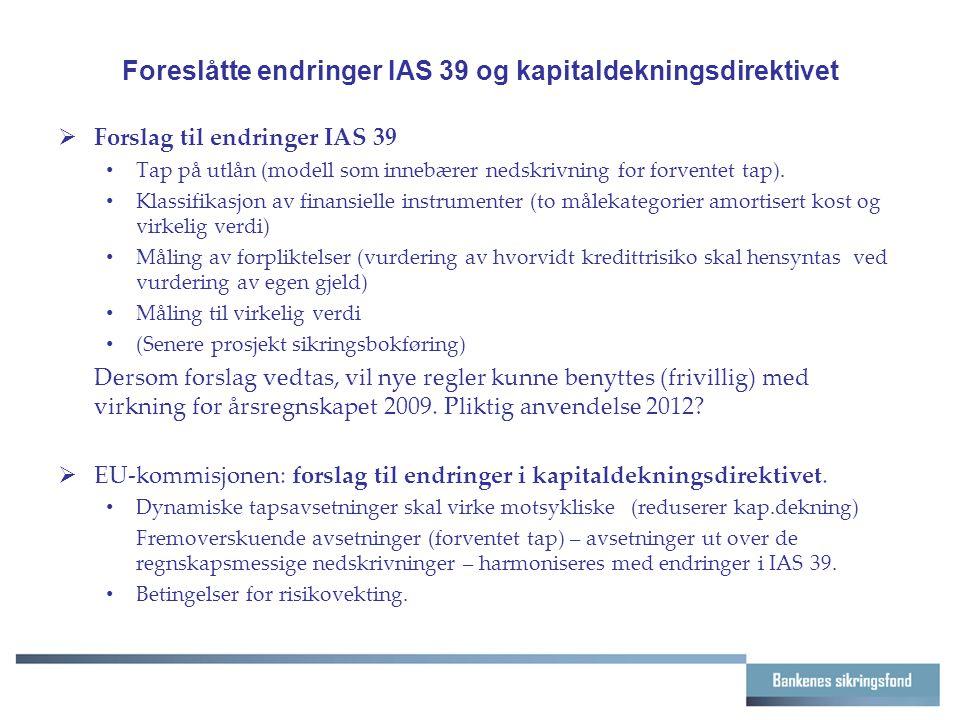 Foreslåtte endringer IAS 39 og kapitaldekningsdirektivet  Forslag til endringer IAS 39 Tap på utlån (modell som innebærer nedskrivning for forventet