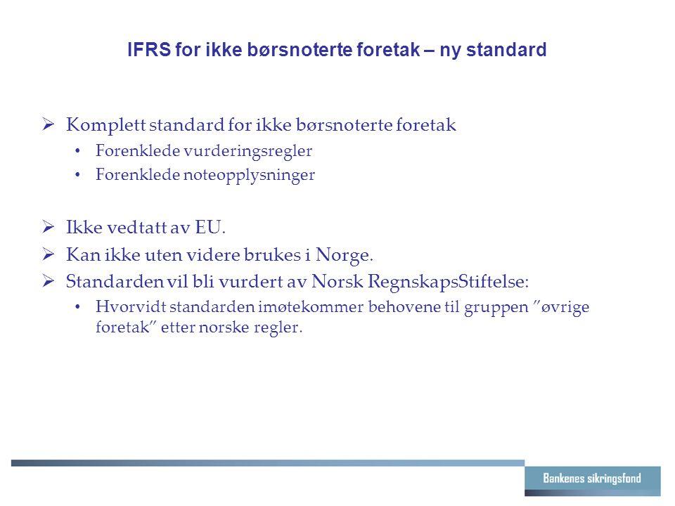 IFRS for ikke børsnoterte foretak – ny standard  Komplett standard for ikke børsnoterte foretak Forenklede vurderingsregler Forenklede noteopplysninger  Ikke vedtatt av EU.