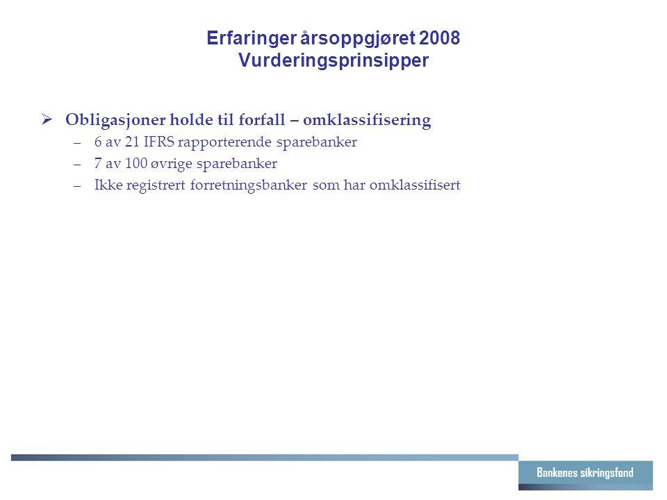 Erfaringer årsoppgjøret 2008 Vurderingsprinsipper  Obligasjoner holde til forfall – omklassifisering –6 av 21 IFRS rapporterende sparebanker –7 av 10