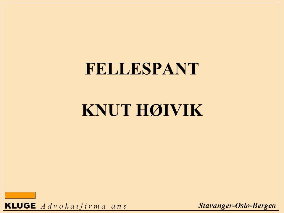 KLUGE A d v o k a t f i r m a a n s Stavanger-Oslo-Bergen FELLESPANT KNUT HØIVIK